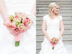 coral peony tulips bridal bouquet utah wedding florist calie rose