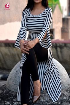 Black and White Stripes Crepe Kurti - Kurtis Online in India | Colorauction