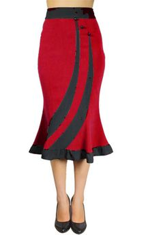 Red Striped Fitted Flared Skirt by Amber Middaugh --Save 37% at ChicStar.com --Coupon: AMBER37