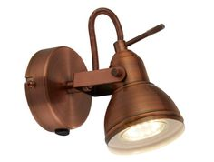 Retro/Industrial Antique Brushed Copper Single 1 Way Wall Spot Light - LED Compatible from Lights 4 Living