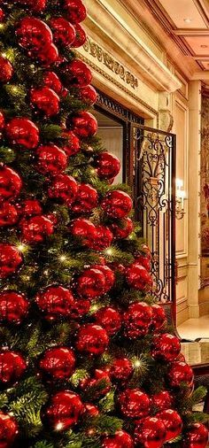 Red Christmas Decor Ideas to Enliven and Holiday Spirit Decorations Christmas, Creative Christmas Trees, Beautiful Christmas Trees, Elegant Christmas, Red And Gold Christmas Tree, Noel Christmas, Christmas Colors, Winter Christmas, Xmas