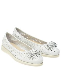 Balerini albi cu gaurele din piele naturala Flats, Casual, Shoes, Fashion, Elegant, Loafers & Slip Ons, Moda, Shoes Outlet, Fashion Styles