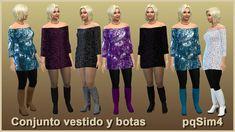 pqSim4: Conjunto Vestido y Botas Mary pqSim. Sims 4 Custom...