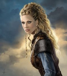 Here it is, my favourite character from Vikings - Lagertha She is such a strong and interesting character and I love her soo much! I do not often do fanarts, so this may be as a proof to my words, . Viking Warrior Woman, Viking Queen, Viking Braids, Viking Hair, Katheryn Winnick Vikings, Arte Viking, Viking Aesthetic, Lagertha Hair, Elf Art