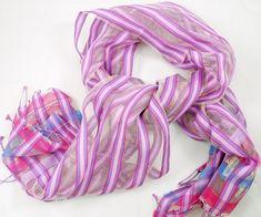 Summer Candy Stripes Handwoven Handloom Scarf by IndigoHandloom