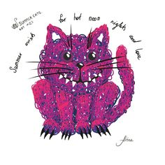 """KOT #22 from the 88 SUMMER CATS collection """"Summer exists for hot neon nights and love""""  #88summercats #art #print #kot #cat #catart #qoute #kotquote #smile #smilingcat #happycat"""