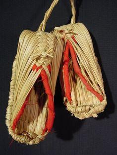 Vintage Japanese Folk Charm Straw Shoes Pair Handmade