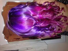 Mermaid hair using ion color brilliance magenta and manic panic ultra violet.
