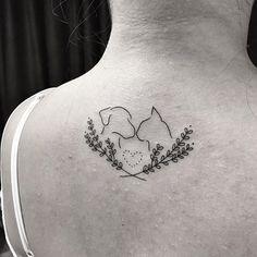 Resultado de imagem para dog and cat tattoo Mini Tattoos, Wrist Tattoos, Dog Tattoos, Body Art Tattoos, Small Tattoos, Tatoos, Tattoo On, Animal Tattoos, Animal Lover Tattoo