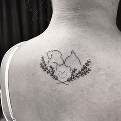 Resultado de imagem para dog and cat tattoo Animal Lover Tattoo, Tattoos For Dog Lovers, Dog Tattoos, Mini Tattoos, Animal Tattoos, Small Tattoos, Tatoos, Cat And Dog Tattoo, Cat Tattoo