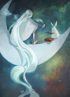 Chang O, Chinese goddess of the moon and her companion the white hare.