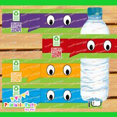 INSTANT download DIGITAL PRINTABLE ninja turtles water bottle labels wraps wrappers birthday party supplies