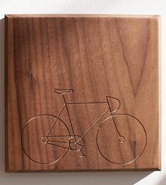 Carved out road bike on wood piece. Bicycle Wood Art by Dave Marcoullier