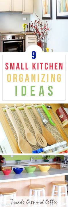Is your kitchen a chaotic mess? Do you have trouble finding where things are or having no counter space to prepare meals because there's stuff everywhere? Here are 9 kitchen organizing hacks for a neater, better organized kitchen space. #organizing #organization #kitchenorganizing