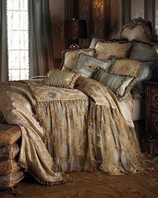 Shop luxury bedding sets and bedding collections at Horchow. Browse our incredible selection of full, queen, and king size luxury bedding sets. Dream Bedroom, Home Bedroom, Master Bedroom, Bedroom Decor, Upstairs Bedroom, Old World Bedroom, Spa Bedroom, Fantasy Bedroom, Cottage Bedrooms