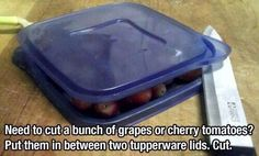 Cut Grapes/Cherry Tomatoes by Placing Them Between Two Plates or Lids