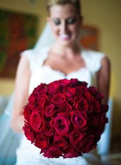 Bukiet ślubny - czerwone róże