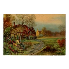 Vintage 1920s Print of Thatched Roof Cottage by 42ndAvenueVintage