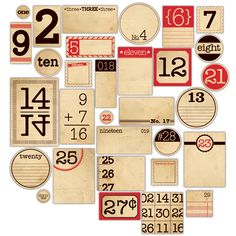 Mix & Match Vintage Number Tags - set of 31 - RED - Will use these in my journal.