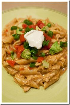 Chicken Enchilada Pasta- made! So delicious! Literally tastes like enchiladas in pasta form!
