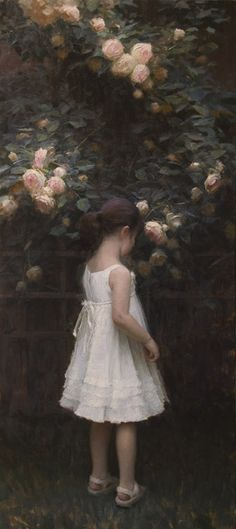 "Oil Painting by Contemporary Artist Jeremy Lipking - Eden Rose Artist's Daughter. ""The Secret Garden"" book comes to mind when I look at this. Art Et Illustration, Art Plastique, Beautiful Artwork, Oeuvre D'art, American Artists, Contemporary Artists, Love Art, Painting & Drawing, Amazing Art"