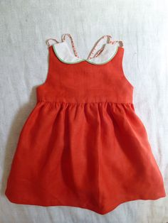 Red Linen Dress with Peter Pan Collar