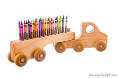 Crayon Holder - Wooden Truck Crayon Holder - Handcrafted Natural And Organic…