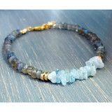 Labradorite & Aquamarine Gemstone Chip Bracelet