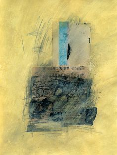 untitled (yellow an blue). Acrylic, graphite, India ink and collage on card stock, 8.5 x 11 inches.