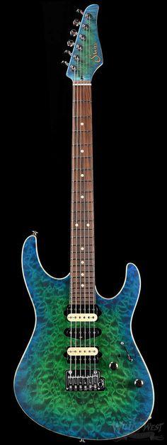 Suhr Custom Modern Amphibian Burst (Blue / Green) Satin - Wild West Guitars