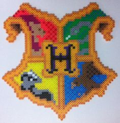 Hogwarts crest in perler beads by dishwall on deviantart