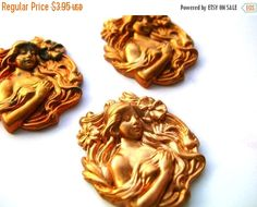 Clearance Sale Lady Godiva Stampings - Raw Brass - Brass Findings by BohemianGypsyCaravan