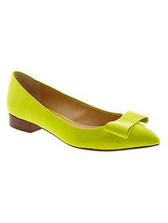 Green Leather Carter Flat with Bow