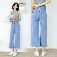 Fashion Pants, Fashion Outfits, Blue Jean Outfits, Cropped Wide Leg Jeans, Korean Girl Fashion, Jeans Style, Mom Jeans, Clothes, Waisted Denim
