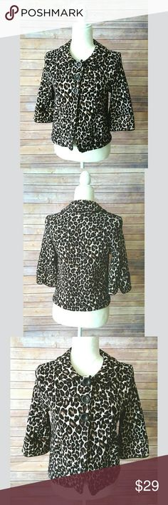 Forever 21 leopard print cropped 3/4 sleeve coat Forever 21 leopard print coat with 3/4 sleeves.  It has 3 large button on the top half and it is open on the bottom half.  It has a round collar.  It is a mid weight coat.   Pet free smoke free home. Forever 21 Jackets & Coats