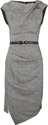 ShopStyle: Michael Kors Draped wool and silk-blend tweed dress