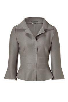 ALBERTA FERRETTI Silver Grey 3/4 Sleeve Wool Jacket