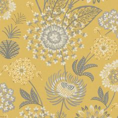 Arthouse Vintage Bloom Mustard Yellow Wallpaper