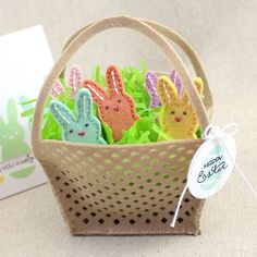 Felt Bunny Basket with Finger Puppets by Lizzie Jones for Papertrey Ink (February 2016)