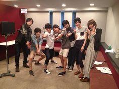 #Haikyuu! Voice Actors! From the left, Toshiki Masuda(Ennoshita), Nobukiko Okada(Nishinoya), Kaito Ishikawa(Kageyama), You Hayashi(Tanaka), Ayumu Murase(Hinata), Kouki Uchiyama(Tsukishima) and Kaori Natsuka(Shimizu)! Photo by Hayashi's twitter.