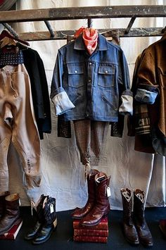 repurposed ladder as a clothes rack