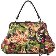 Patricia Nash Cuban Tropical Macerata Frame Extra-Large Satchel (285 AUD) ❤ liked on Polyvore featuring bags, handbags, cuban tropical black, leather satchel, satchel handbags, real leather purses, genuine leather purse and leather tassel purse