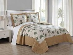 Tropical-Palm-Tree-Wicker-Print-Green-Brown-Ivory-Queen-or-King-Size-3P-Quilt