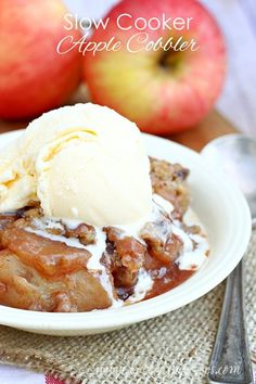 Slow Cooker Apple Cobbler Recipe   The perfect dessert for fall!