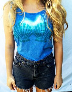 Mermaid Tank The Little Mermaid Inspired Clamshell Bra Top Hipster Tee Summer… Tumblr Outfits, Hipster Outfits, Cute Outfits, Tumblr Fashion, Girl Fashion, Fashion Outfits, Disney Clothes, Disney Outfits, Disney Fun