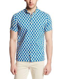 Ben Sherman Men's Short Sleeve Bold Geo Print Square Hem Woven Shirt, Turkish Sea, Small