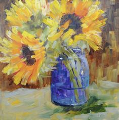 Sunflower Study #1/ oil on gesso board/ 8 x 8/ SOLD I am finally painting again. However, my calendar has not caught up. I planned on p...