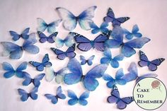 26 blue edible butterfly wedding cake decorations for a spring wedding cake or a rustic wedding cake Vegan Wedding Cake, Wedding Cake Flavors, Wedding Cake Rustic, Wedding Cakes, Butterfly Wedding Cake, Butterfly Cakes, Blue Butterfly, Butterflies, Edible Cupcake Toppers