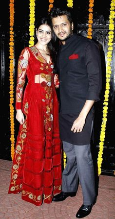 Riteish Deshmukh and Genelia D'Souza at Ekta Kapoor's Diwali bash. #Bollywood #Fashion #Style #Beauty