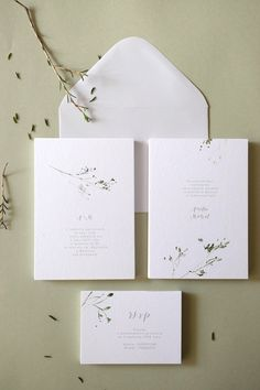 Botanical watercolor wedding invitations